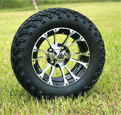"Golf Cart Set of 4- 22"" Tire, and 12"" Typhoon Machined / Black Wheel Combo"