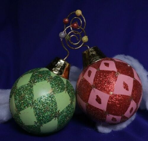 2 Red and Green Ornaments with Decorative Spiral Hooks