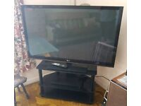 "50"" plasma TV, Sony Blu ray player and TV stand"