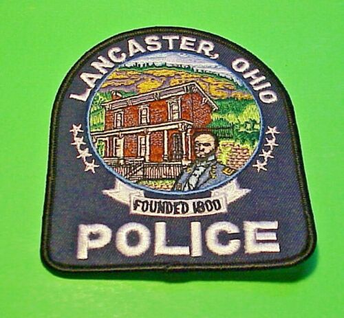 """LANCASTER  OHIO FOUNDED 1800  OH  4 1/2"""" POLICE PATCH  FREE SHIPPING!!!"""