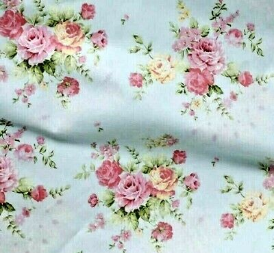 Gorgeous Vintage Shabby Chic Roses Cotton.1 YRD Light Blue Color