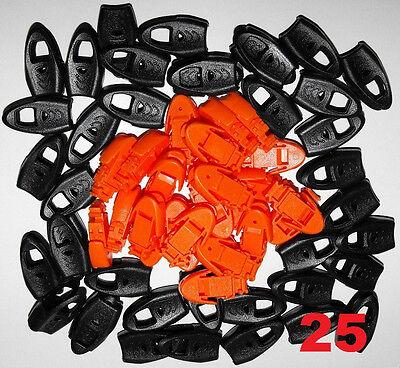 Lot 25 Plastic Zipper Pull Cord Lock Ends For Paracord w/ Whistle Orange - Plastic Whistles Bulk