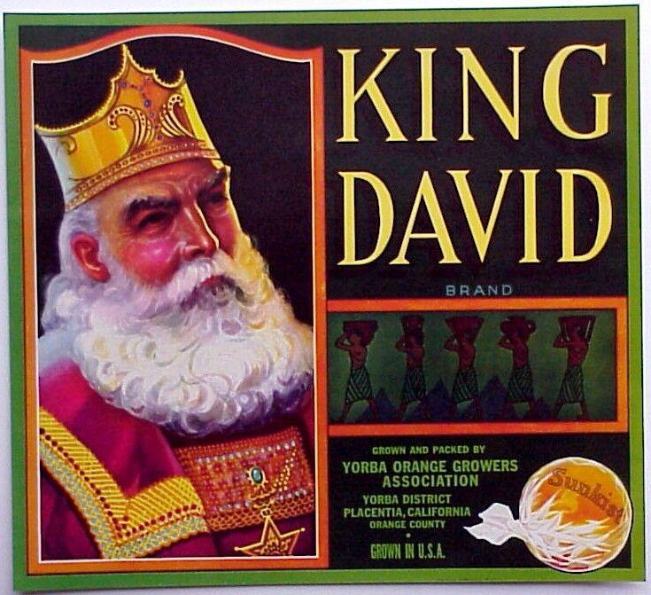 *Original* KING DAVID Placentia Biblical Figure Orange Crate Label NOT A COPY!