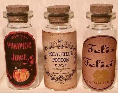 "- 3 Harry Potter 2""Tall Glass Bottles Pumpkin Juice Felix Felicis Polyjuice Potion"