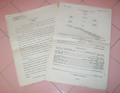 "Columbia Pictures Movie ""Cowboy"" 1958 Production Notes Press Release Ford Lemon"