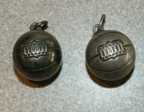 2 Vintage Sterling Silver Round Basketball Charms  BEAUTIFUL !!!!!!!!!!