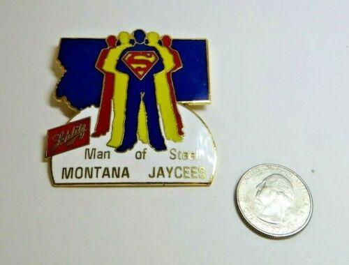 Schlitz Beer Superman Man of Steel Montana Jaycees Metal Enameled Pin