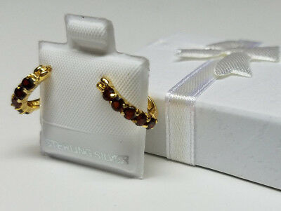 GARNET Red GEMSTONES Genuine 18K GOLD over 925 STERLING SILVER Hoop Earrings NEW
