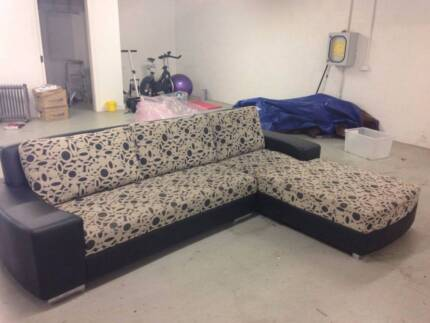 Couch (Black leather Modular Couch with fabric couch cushions)  Brighton Bayside Area Preview