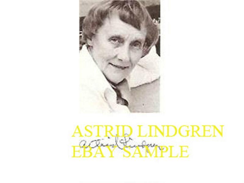 Astrid Lindgren rare signed autographed picture