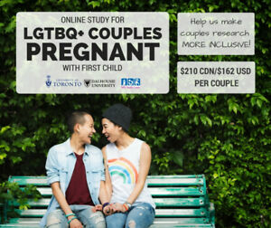 LBGTQ+ couples needed for research study on pregnancy/postpartum
