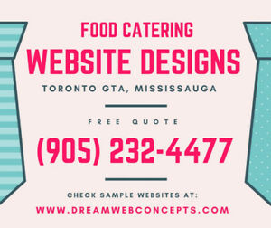 CATERING SERVICES WEBSITE DESIGNS - MISSISSAUGA