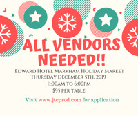 UNIQUE VENDORS NEEDED FOR HOLIDAY MARKET!