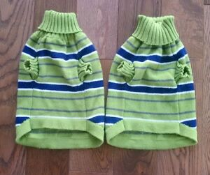 PICKLE GREEN AND NAVY DOG/CAT SWEATERS - Size Small, Never Worn London Ontario image 2