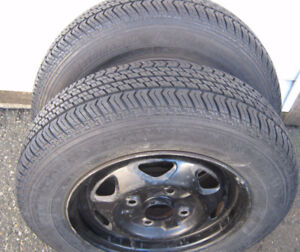 Like New  ,  2 MotoM  155 / 80 /13 inch tires with rims ,  Snow