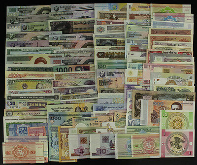 Lot 100Pcs Banknotes Currency World Paper Money, All Different ,No Repeat,UNC
