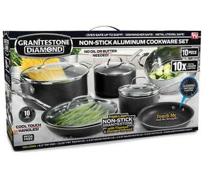 Granite Stone 10-Piece Nonstick Pots and Pans Cookware Set, Black