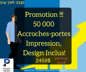 50 000 Accroches-Portes Impression, design inclus !!