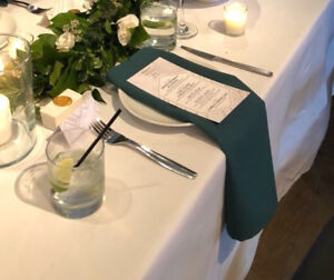85 emerald napkins -used once for wedding, mint condition!