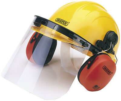 Draper Safety Helmet with Ear Muffs/Defenders and Visor Fully Adjustable Helmet
