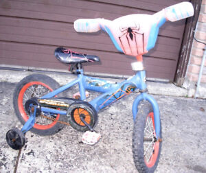 """Used 14"""" Bike with Training wheels, Huff Spider man"""