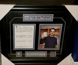 Auston Matthews 4 Goal Stat Sheet Framed