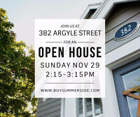 OPEN HOUSE: Sunday 2:15-3:15pm at 382 Argyle Street