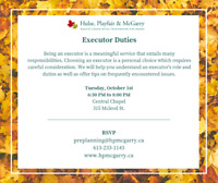 Hulse, Playfair & McGarry Fall Speaker Series - Executor Duties