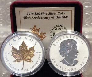 2019 40th Anniversary Gold Maple Leaf GML $20 Silver Proof Coin