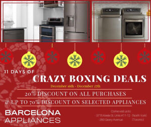 BOXING DAY SALE! ANY SIZE FRIDGE with 20% OFF until DEC 27th !!