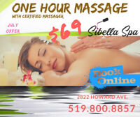 One Hour Massage with certified Massager at Sibella Spa for $69