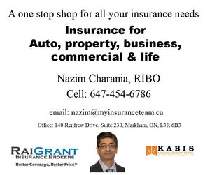 Insurance for auto, property, business, commercial or Life