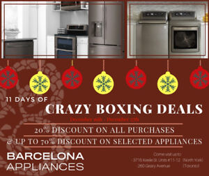 11 DAYS OF CRAZY BOXING OFFERS ON APPLIANCES! UP TO 70% DISCOUNT