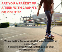Are You A Parent of A Teen with Crohn's disease or Colitis?