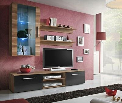 - Carlisle 5 - black & walnut living room wall unit / modern entertainment center