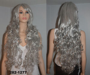 BRAND NEW 90cm Deluxe Long Silver Curly Cosplay Wig (282-1277)