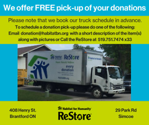 We offer free pickup of your donations