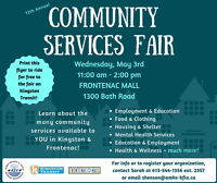 Join us for the Community Services Fair at the Frontenac Mall!