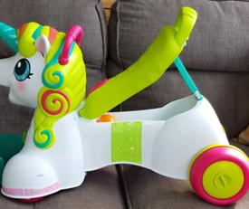3 in 1 sit ride push unicorn