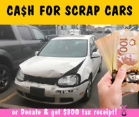 We'll buy your scrap vehicle! Up to $1500* paid cash / or Donate