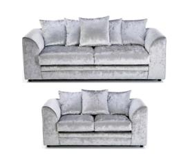 🍁FACTORY DIRECT 🍁🍁Sofa Crushed Velvet Sofa 3+2 or 4 Seater corner