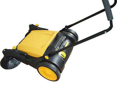 39.5 Hand Push Sweeper Pavement Portable Street Sweep Tool Outdoor Cleaner