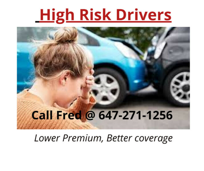 For High Risk Auto Insurance, Call Fred @ 647-271-1256 ...