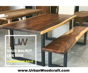 STUNNING LIVE EDGE DINING TABLE – SOLID WALNUT – SHOWROOM SALE