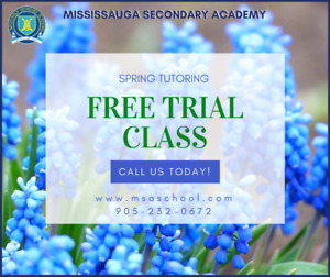 FREE Tutoring Trial Class: Mississauga Secondary Academy