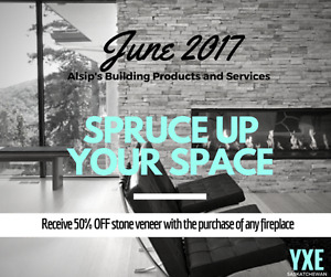 50% off stone veneer with the purchase of any fireplace