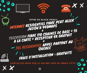 INTERNET 50 FIBRE + TV 125 CHAINES + RECEPTEUR 4K + TEL MAISON