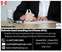 Bahrain Good Standing Certificate (PCC) From Canada