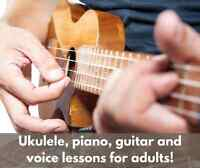 Piano, Guitar, Ukulele and Voice Lessons for Adults