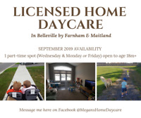 Licensed Home Daycare Space Available